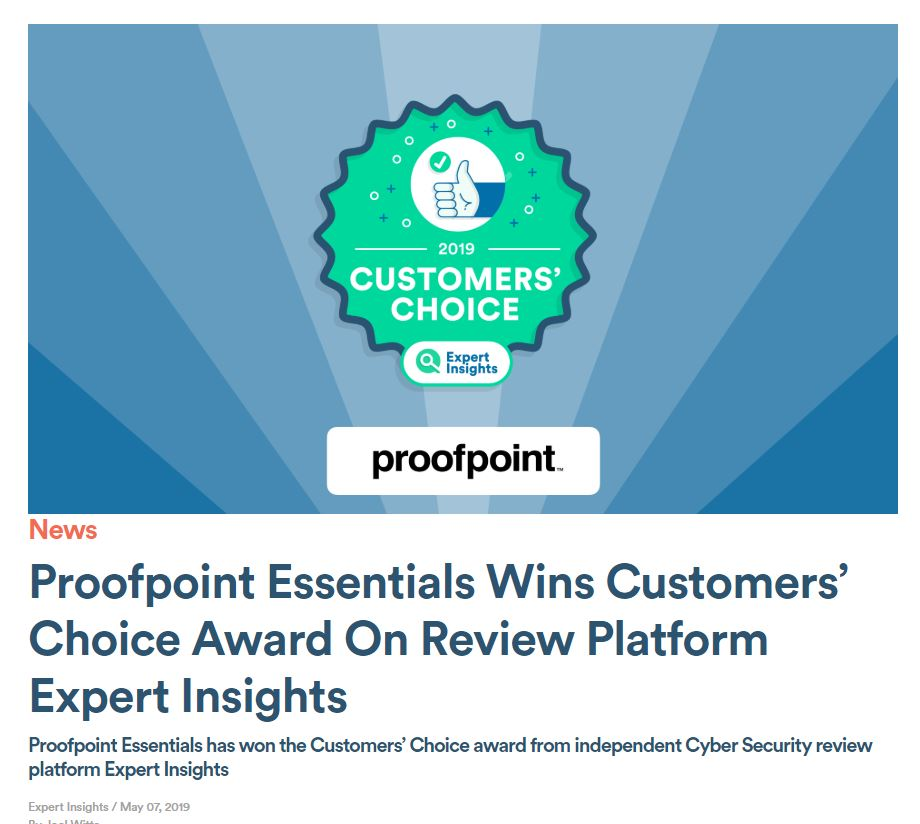 Proofpoint consigue  dos premios Customers' Choice!